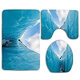 Not Applicable Frozen Ice Mountains en North South Polar Cubes Winter Art Print 3Pcs Set de baño Alfombra Contour Mat + Tapa del Inodoro + Alfombrillas de baño