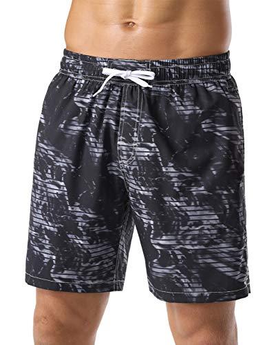 Nonwe Men's Board Shorts Smoke Printed Beach Vacation Lightweight Swimming Shorts Black 34