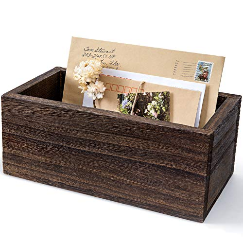 Dahey Wood Mail Organizer for Countertop Rustic Mail Holder Desk Letter Bill Envelope Accessories Storage Box Decorative Mail Sorter for Tabletop Home Office Kitchen