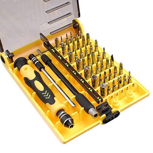 MMOBIEL 45 en 1 Kit Herramienta Apertura, Destornilladores, Juego con Pinzas y Eje de extensión para reparación (6089 A)