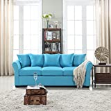 DIVANO ROMA FURNITURE Classic and Traditional Ultra Comfortable Linen Fabric Sofa - Living Room Fabric Couch (Sky Blue)
