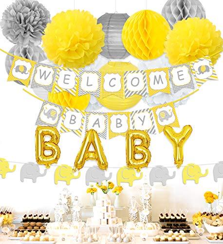 Decoraciones de Baby Shower de elefante Decoraciones de fiesta neutrales con pancarta de bienvenida amarilla y gris, guirnalda de elefante, globos de papel de bebé
