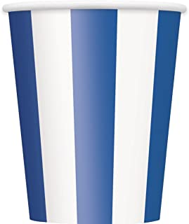 Royal Blue Striped Cups 12oz
