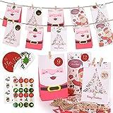 24 Sacchetti di Carta per Il Calendario dell'Avvento. sacchetti regalo di Natale . Viene fornito con 1 adesivo digitale + 2 adesivi per sigilli + 1 corda di cotone + 24 mollette in legno.