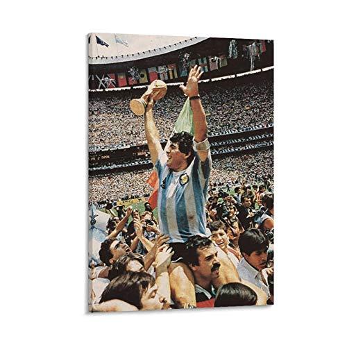 SSKJTC Decoración para el hogar para el panel de la sala de estar Diego Maradona Argentina ganó la Copa del Mundo 1986 Decoración moderna para el hogar 20 x 30 cm
