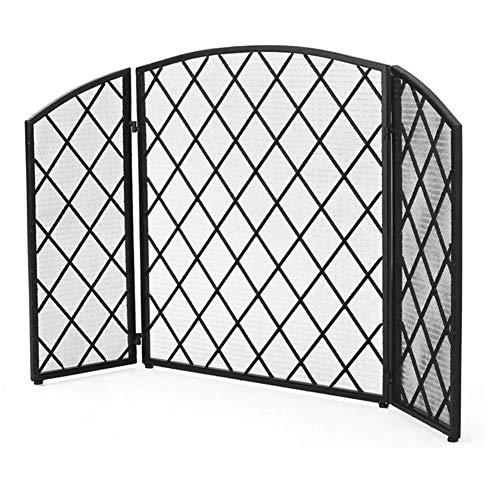 For Sale! ZAQI 52 x 32 Inch Art Deco Style Black Metal Mesh 3-Panel Folding Fireplace Screen, for Ba...