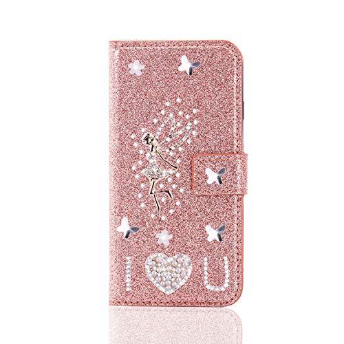 Handytasche für Samsung Galaxy S21+ Plus Hülle 3D Glitzer Strass Diamant PU Leder...