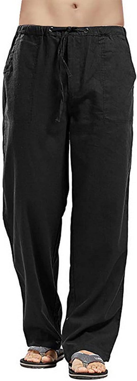 SMIFCAALOR Mens Cotton Linen Pants Loose Fit Elastic Waist Yoga Beach Pant Casual Summer Trousers
