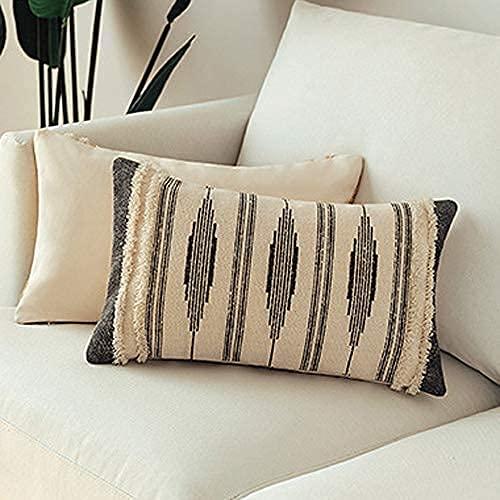 MOCOFO Fundas de Almohadas Tejidas en el Estilo nórdico Fundas de Almohadas con Rayas sofá Dormitorio salón Coche (Gris, 30x50 cm)