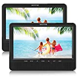 WONNIE 10'' Dual Car DVD Player Portable for Trip Travel Built-in 5 Hours