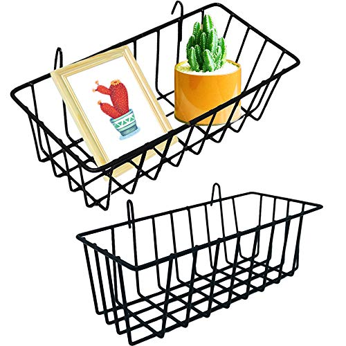 2 Pack Wall Grid Panel Hanging Wire BasketWall Grid Basket with HookWall Storage and Display BasketWire Wall Baskets Shelves for Kitchen Bathroom OrganizerHome DecorBlack