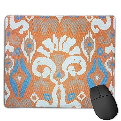 Peafowl Feathers Geometric Design Marokkanisch Orange Türkis Fliesen Maus Matte Niedliche Mauspad Gummibasis Mousepad mit genähter Kante Wasserdichtes Büromauspad
