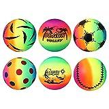 STOBOK 6 bolas deportivas arco iris de 22 cm de neón para...