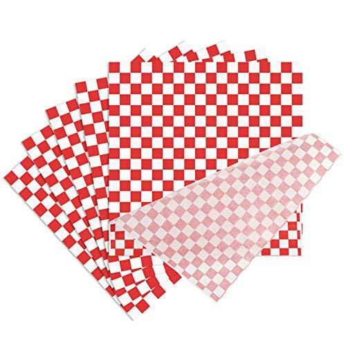 Xinzistar 100 Stück Lebensmittelverpackung Papier, Checkered Deli Basket Liner Lebensmittel Wrapping Papers, Lebensmittel Fettbeständig Wrap Papier für Sandwich Fast Food Snacks Brot Hamburger