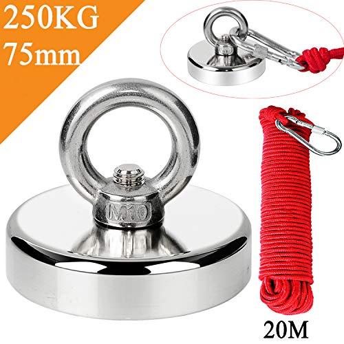 Uolor 250KG Haftkraft Neodym Ösenmagnet Magnete mit Seil (20M/66ft), N52 Super Stark Magnet Perfekt zum Magnet Angel Magnetfischen - Ø 75mm mit Öse Neodymium Topfmagnet