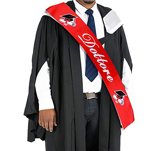 """FLOFIA Graduación Banda Universidad 2020 Doctorado Rojo Adulto Texto Italiano """"Dottore"""" Fajín Faja de Satén Graduation Satin Sash Decoración Regalo Feliz Graduación Fiestas de los Graduados"""