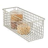 mDesign - Cesta almacenaje con asas color plateado - Organizador cocina de acero de alta calidad - Ideal para el baño, cocina o despensa