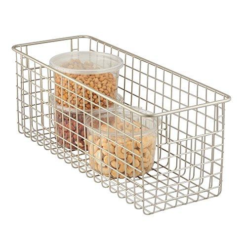 mDesign - Cesta almacenaje con asas color plateado - Organizador cocina de acero de - Ideal para el baño, cocina o despensa