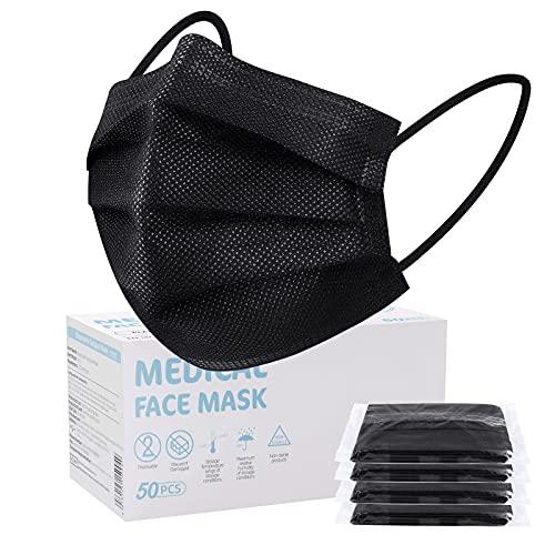 SOYES Einwegmasken 50 Stück TYP IIR 3 lagig Mund Nasen Schutzmaske - Masken Mundschutz - Maske Schutzmaske CE Zertifiziert,Einweg-Gesichtsmaske Universaldesign für Erwachsene, Schwarz