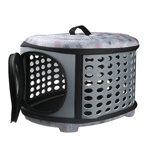 Sinbide Transportbox für Katzen kleine Hunde Welpen und Kaninchen Stabile Transportbox Sportlich Kleine Transporttasche Hundetasche für Tiere Katze Hunde Faltbare Haustier Tasche (Grau)