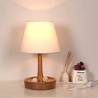 Nordic Style Log LED Small Table Lamp, Simple Fabric Lampshade Solid Wood Material, Bedroom Bedside Lamp Warm Decorative T...