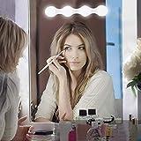 Klighten Luces de maquillaje LED de Hollywood, luz de maquillaje de 4 bombillas LED, lámpara de espejo con batería (baterías no incluidas) / lámpara de maquillaje con USB, brillo ajustable, 1 pieza