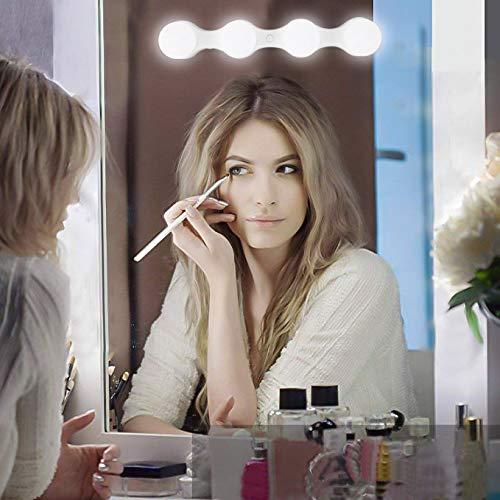 Klighten Hollywood LED Make-up Lichter,4 LED Birne Schminklicht,Batteriebetriebene Spiegellampe(Batterien nicht enthalten)/Make-up Lampe mit USB,Helligkeit Einstellbare,1 Stück