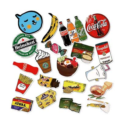 WWLL 18 Retro Snack Food Luggage Suitcase Stickers Cartoon Computer Personality Stickers Waterproof Guitar Scooter