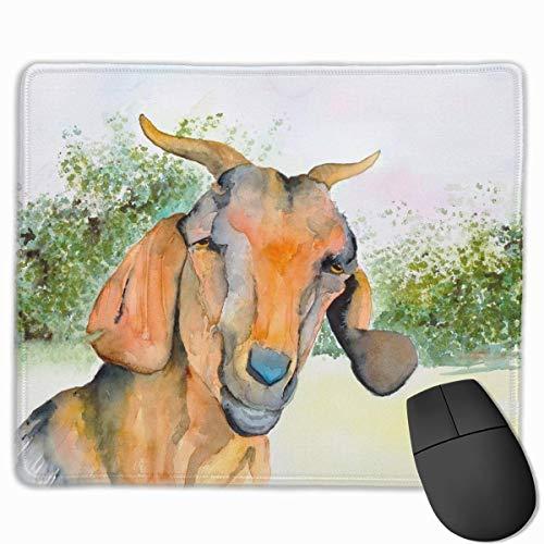 Cabra Pintura a la acuarela Diseños únicos antideslizantes Alfombrilla de ratón para juegos Tela negra Rectángulo Alfombrilla de ratón Arte Alfombrilla de ratón de goma natural con bordes cosidos