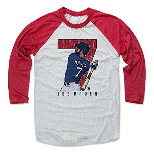 500 LEVEL Joe Mauer Baseball Tee Shirt Large Red/Ash - Minnesota Baseball Raglan Shirt - Joe Mauer Clutch R