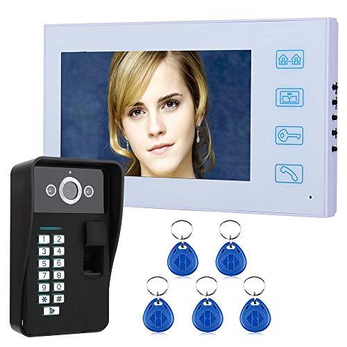 Jxiao 7'TFT Reconocimiento de Huellas Dactilares RFID Contraseña Videoportero Teléfono Intercomunicador Timbre con visión Nocturna Seguridad Cámara CCTV Vigilancia del hogar