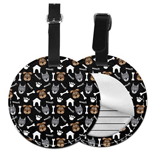Luxus-Anhänger für Koffer mit Hundemotiv, Leder, personalisierbar Schwarz Schwarz 2 PCS