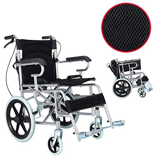 WRJY Rollstuhl Faltbarer tragbarer Reiserollstuhl, tragbarer behinderter Rollstuhl, geeignet für ältere Menschen, behindert, medizinischer Rollstuhl, schwarz