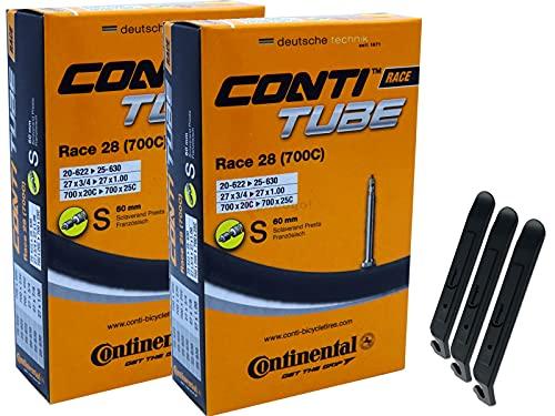 pneugo! Continental Sclaverand 20-622/25-630 (Race) - Juego de 2 cámaras de aire para bicicleta (28', incluye 3 desmontadores de neumáticos)