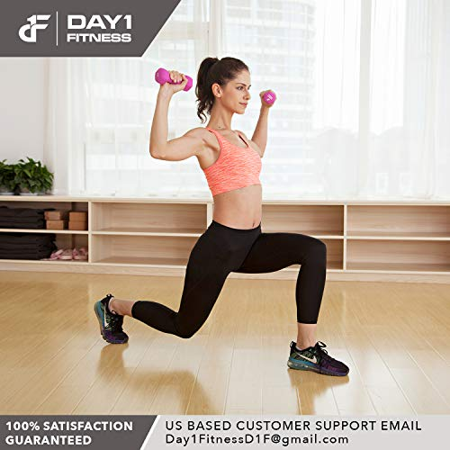 Neoprene Dumbbell Pairs by Day 1 Fitness – 10 Pounds - Non-Slip, Hexagon Shape, Color Coded, Easy To Read Hand Weights for Muscle Toning, Strength Building, Weight Loss