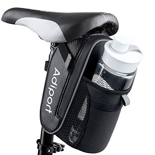 Adiport Bolsas de asiento de bicicleta, bolsa de sillín de bicicleta, almacenamiento trasero impermeable con bolsa de botella de agua, accesorios de montaje debajo del asiento para ciclismo de montaña