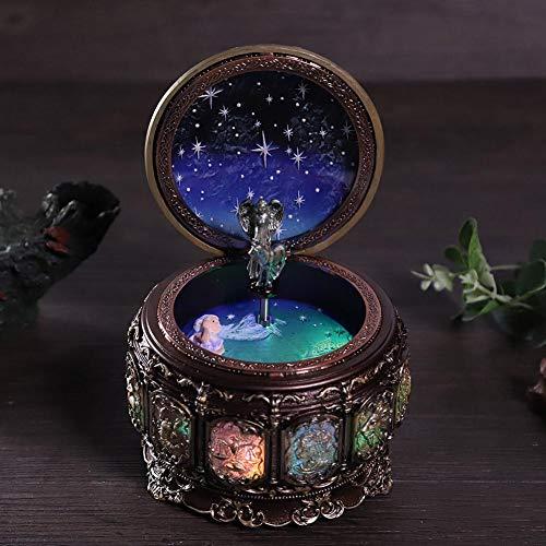Jeffergarden Caja de música Vintage con 12 Constelaciones, Diosa giratoria, luz LED Parpadeante (Taurus)