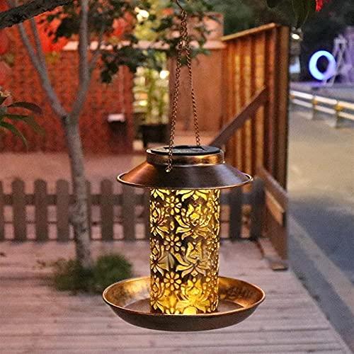 Ramasseur d'oiseaux solaires pour suspendre extérieur, chargeur d'oiseaux sauvages à énergie solaire léger pour la décoration extérieure de jardin, cadeaux décoratifs de la lanterne rétro unique pour