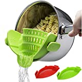 Snap Strainer, 2 PACK Silicone Clip On Strain Strainer Colander Kitchen Gadgets Food Drainer For Pasta, Spaghetti, Ground Beef, Universal Fit On All Pots and Bowls