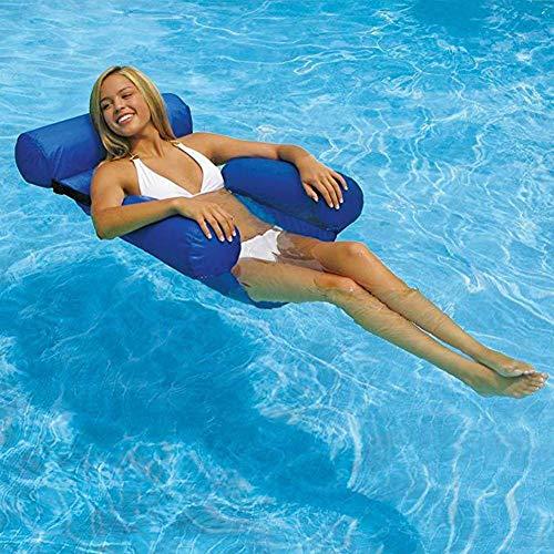 pologyase Wasserstuhl Prämie Schwimmbad Schweben Hängematte, Bequeme aufblasbare Pool-Liege, Wasser-Hängematten-Lounge Blau