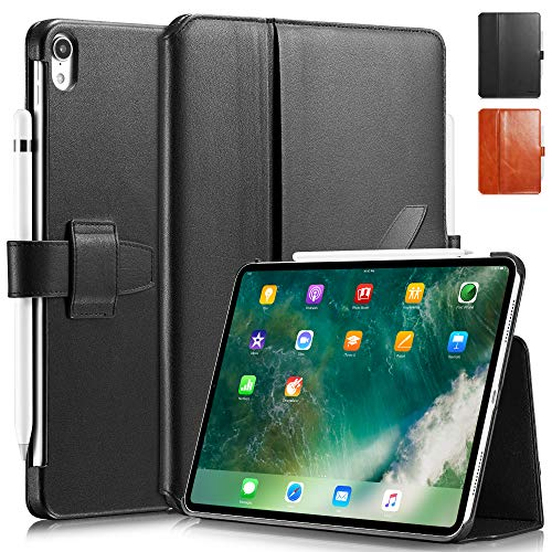 KAVAJ Case Leather Cover London works with Apple iPad Air 4 10.9' 2020 Black Genuine Cowhide Leather with Pencil Holder Supports Apple Pencil Slim Fit Smart Folio
