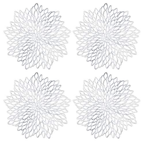 Placemats Sets of 4, Round Silver Table Mats , Pvc Hollow Place Mats for Dining Table, Kitchen Table