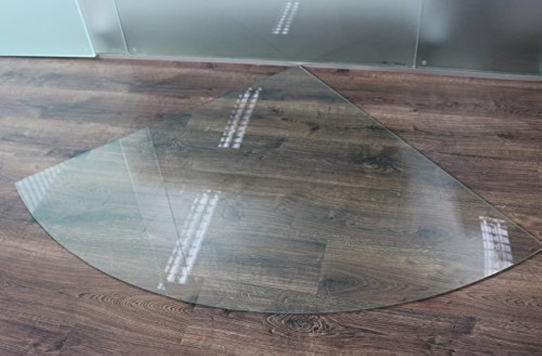 Viertelkreis 120x120cm - Funkenschutzplatte Klarglas Kaminbodenplatte Glasplatte Kaminofenunterlage Ofenplatte (Viertelkreis 120x120cm mit Silikon-Dichtung)