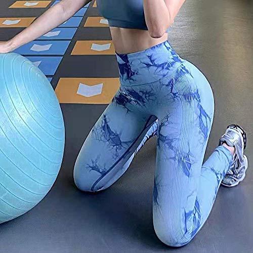 Wuyuana Pantalones de Yoga Leggings de Yoga Alta Cintura Fitness Tie Dye Nuevo diseño Pantalones Deportivos Gimnasio AW Leggins Pantalones (Color : Blue, Size : 50)