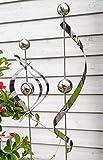 Modern Art 2er Set Gartenstecker Edelstahl Spirale und Ellipse mit Kugel Metall Gartendeko Beetstecker Topstecker