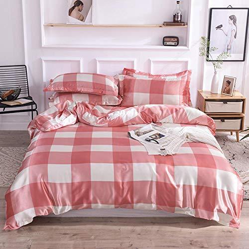 juego de ropa de cama 135x190,Juego de cuatro piezas de seda de hielo de verano de ropa de cama de seda lavada sábanas para dormir desnudas sedosas funda nórdica sábana-L_Cama de 2,0 m (4 piezas)