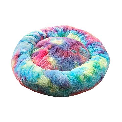 Decdeal Haustierbett für Katzen und Hunde Rundes Plüsch Hundebett Katzenbett in Doughnut-Form Farbe und Größe Optional (Durchmesser 40cm, bunt)