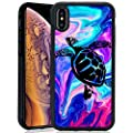 ChyFS Phone Case for iPhone Xs iPhone X Sea Turtle Case Black Protective Case for iPhone Xs iPhone X.