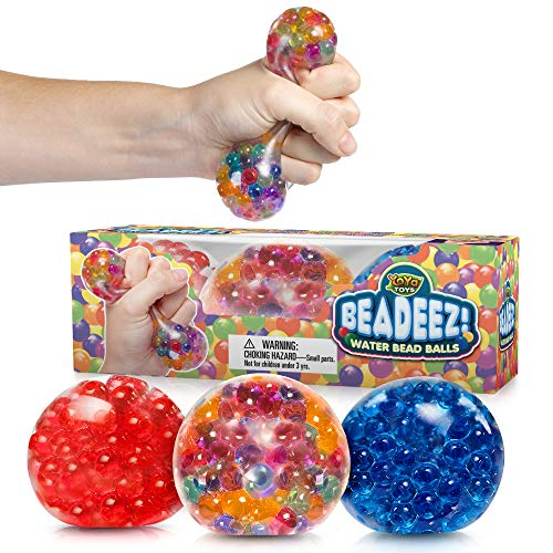 Beadeez Stress Relief Squeezing Balls 3-Pack for Kids and Adults - Premium Anti-Stress Squishy Balls...