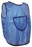 Schuerzenfabrik Kinderschürze hinten zum knöpfen Dederon Malschürze Jungenschürze blau versch. Muster, Größe:110/116, Farbe:blau mit weißen Punkten